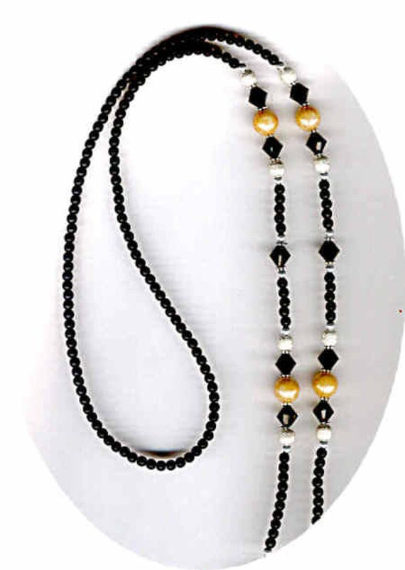 Swarovski Mottled Bead and Faceted Crystal with Black Matte Glass Beaded Eyeglass Chain or ID Badge Lanyard