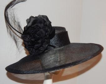 Black Sinamay Kentucky Derby Hat