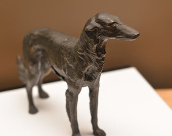 Solid 3 lb Borzoi bronzed Cast metal Figurine Jennings Brothers Mold Mohawk Trail Souvenir Not hollow cast 10 inches long