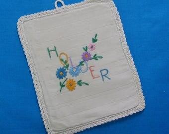 Vintage Hand Embroidered Floral Hot Pad Pot Holder Kitchen Helper