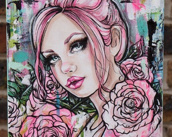 "Original Acrylic Painting 8x10 "" Rose Quartz"" - Pink hair pin up girl with roses tattoo art lowbrow gift"