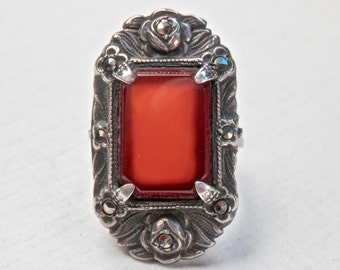 Art Deco Ring Red Carnelian Sterling Silver Marcasites Art Nouveau Vintage Jewelry Antique Ring Scrolled Silver Art Deco Jewelry 925 Gothic