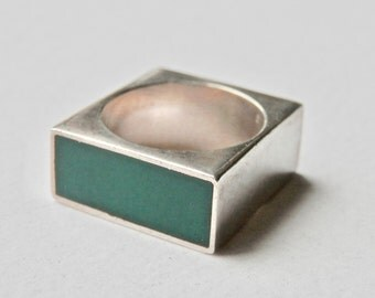 Modernist Square Ring Sterling Silver Industrial Green Chrysoprase Black Onyx Heavy Size 10 Ring Mens Ring Vintage Man Wedding Ring 925