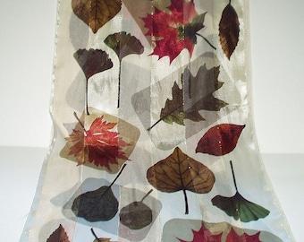 Vintage Scarf Long Leaf Print Fall Colors Retro Fashion Head Scarf Neck Purse Kerchief Scarf Accessory