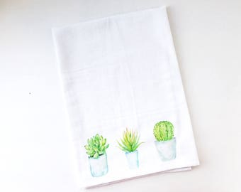 Flour Sack Towel | Potted Blue and Green Succulents | Fun Towel | Gifts under 10
