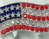 American Flag Statement Ring/Red/White/Blue/Rhinestone/Patriotic Jewelry/Unisex/Fourth Of July/Adjustable/Under 20 USD