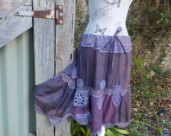 "purple silk + vintage lace + crochet skirt, bohemian alternative - hippy - gypsy - 38""waist"