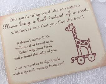 Bring a Book Insert Card Baby Shower Invitation Insert Giraffe Set of 10