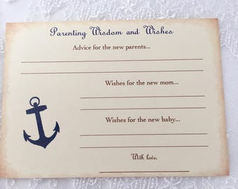 Baby Shower Games Nautical Anchor Wish Cards Parenting Advice Set of 10