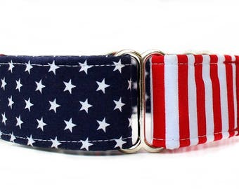Stars and Stripes Martingale Dog Collar, Patriotic Martingale Collar, Red White Blue Martingale, 4th of July Martingale, Memorial Day