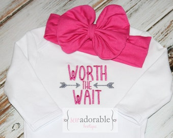 Worth the Wait Baby Gown or Bodysuit, Coming Home Outfit, Rainbow Baby, Layette Baby Gown, Baby Shower Gift, Newborn Baby Girl Outfit