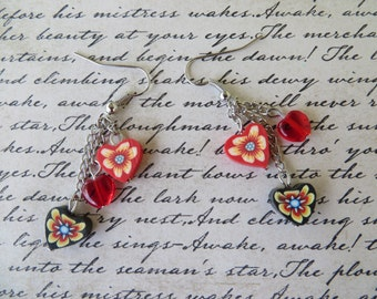 Black And Red Dangling Clay Hearts Bead Earrings