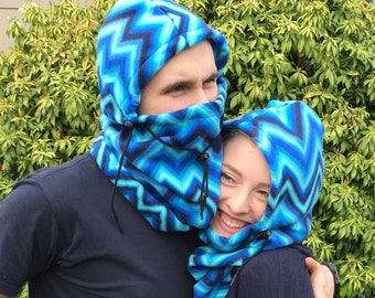 Blue Chevron Print Adult Fleece Balaclava Hat - Ski Mask - For Men Or Women - Adventure Hat - Gift For Her - Gift For Him - Unique Gift