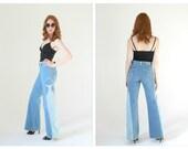 70s High Waist Wideleg Jeans- Light Wash, Side Panel Flares