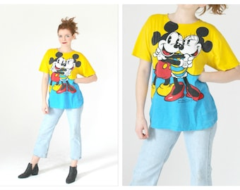 90s Mickey & Minnie Mouse T Shirt- Vintage J G Hook Collectors Series, Graphic Tees, Disney, Oversized Bold