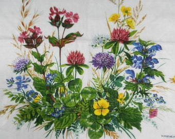 Handkerchief, Kreier, White with Colorful Wildflowers, Blue, Purple, Yellow, Dark Pink and Green Leaves