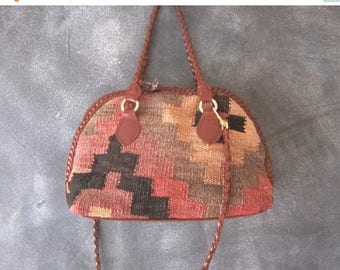 15% Off Out of Town Sale Vintage Ethnic Turkish Kilim w/Braided Brown Leather Speedy Tote Handbag