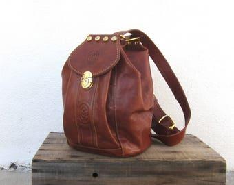 80s Italian Marino Orlandi Cognac Sling Backpack Purse Hobo Knapsack Purse Designer