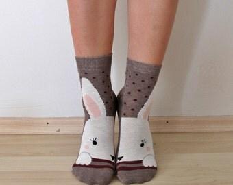 RABBIT Socks ,Women Socks,Boot Socks,Ankle Socks,Brown Socks