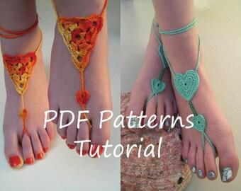 Barefoot sandals crochet patterns - 2 pdf crochet patterns - bridesmaid foot jewelry patterns - English PDF TUTORIAL