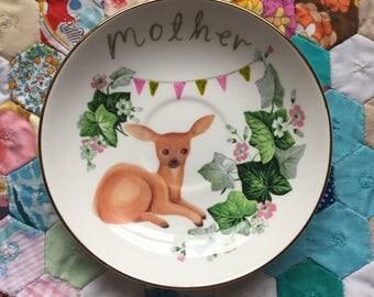 Mothers Day Vintage Deer With Ivy Vintage Illustrated Plate