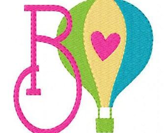 Hot Air Balloon with Heart // Machine Embroidery Monogram Designs, Embroidery font, Balloon Embroidery Design, Monogram // Joyful Stitches