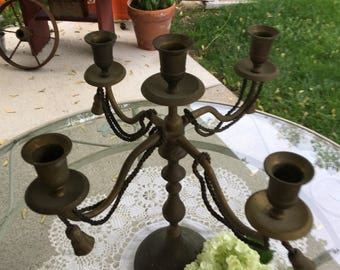 Brass candleholder, Goth Candelabra, Vintage Candle Holder, Large vintage Sconce, rustic candle stick holder