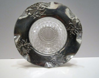Aluminum and Bubble Glass Serving Bowl - Mid Century 1950s Tableware - Decorative Serving Bowl