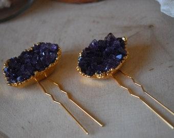 AMETHYST HAIR PINS /// 24kt Gold Electroformed Hair Pins