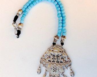 C5989E Vintage Chinese Silver Bat Pendant, Vintage Turquoise Ethiopian Tribal Glass Necklace