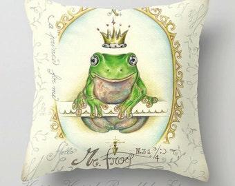 "Pillow ..PRINT art....A prince for me. PrinceFrog - woodland fine art -living room - childrens room - nursery - babies - """"PRINCE FROG """""