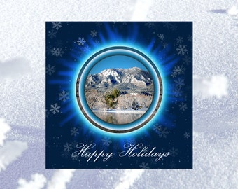 Custom Holiday Card - Greeting Cards - Personalized Christmas Card Set - New Year Card, Snow Mountain, White Navy Blue Christmas Card