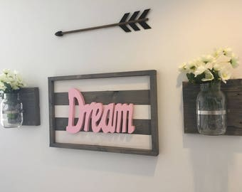 Wooden Dream Sign/Home Decor/Wall Hangings/Nursery Decor/Kids Room Decor/Dream/Wood Sign/Wall Art/Signs/Wooden Sign