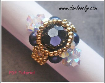 Beaded Ring Pattern - Crystal Sapphire Golden Ring (RG160) - Beading Jewelry PDF Tutorial (Digital Downloads)