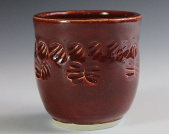 Red Textured Ceramic Wine or Tea Cup Chawan for the Tea Lover or Wine Lover