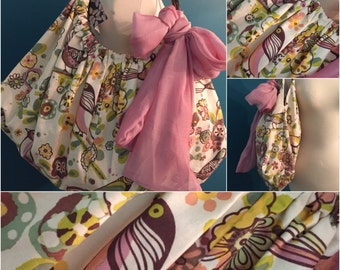 Birds, purse, handbag, carpetbag, calico