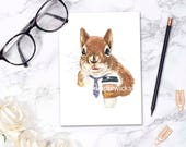 Squirrel Greeting Card - Blank Card, Stationary, Coffee Squirrel, Birthday, Thank You, Anniversary, Watercolor Print