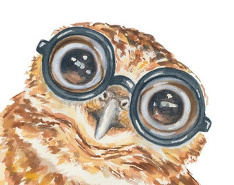 Owl Watercolor Painting PRINT - 5x7 Watercolour, Owl with Glasses, Baby Owl, Thick Glasses, Nerd, Nursery Art