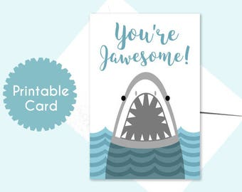 Printable Card for BFF Friends You're JAWESOME Shark Blue Instant Card Download
