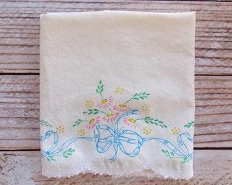 Vintage Painted Pillowcase / Floral / Vintage Linens / Farmhouse Decor