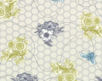Bee My Honey Bee Line gray Mary Jane moda Fabrics FQ or more OOP HTF