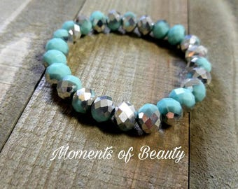 Mint Bracelet Mint Blue Bracelet Mint Glass Bracelet Mint Silver Bracelet Light Blue Bracelet Stretch Bracelet Beaded Bracelet
