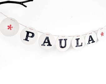 Name banner nursery, personalize name banner, felt name garland, birthday name banner, holiday banner, wall banner