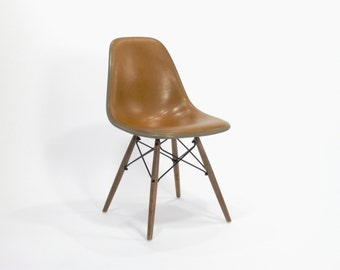Eames for Herman Miller Two-Toned Tobacco Colored Dowel Base Side Chair-DSW