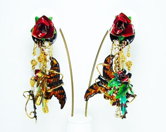 Lunch at the Ritz Rose Garden Earrings - Retired Clip on Red Roses w/ Dangling Monarch Butterflies Signed  LATR - Vintage 1980's Modern FUN!