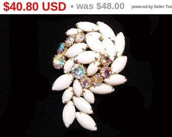 Spring Sale Summer White Rhinestone Brooch - Mid Century Aurora Borealis Question Mark Style - Vintage Jewelry