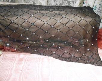 Fabric Vintage Glitz Sheer Black Remnant