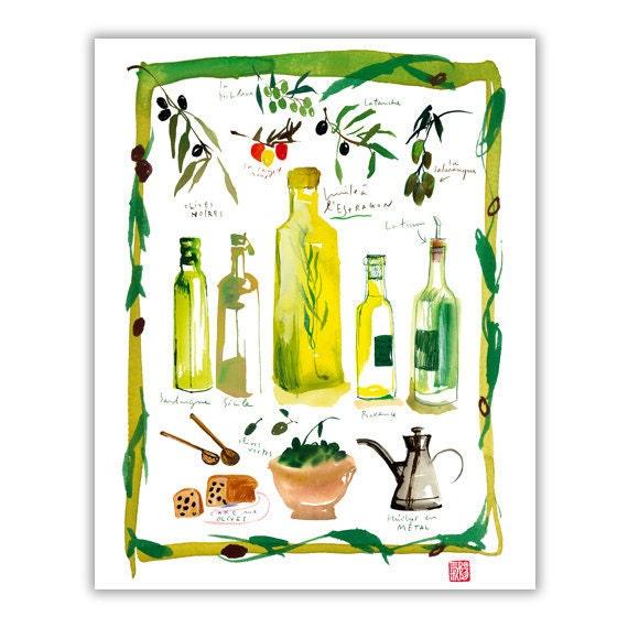 Olive oil bottle poster, Italian kitchen print, Food art, Yellow kitchen decor, Watercolor painting, Food print Kitchen wall art, 8X10 print