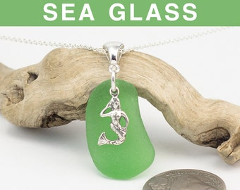 Kelly Green Sea Glass with Mermaid Charm