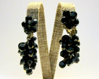 Vintage Black Glass Dangle Clip Earrings Screw Back Gift for Her Gold Vintage Earrings Gift for Mom Under 25